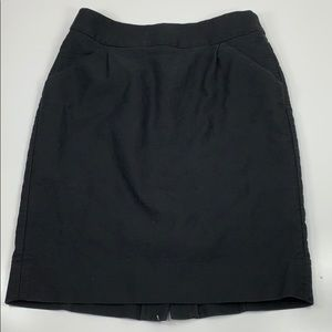 Jcrew The Pencil Skirt Solid Black Pockets Size 2